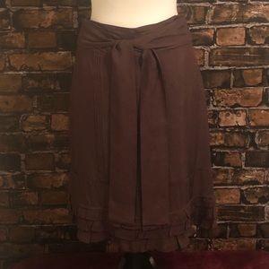 Anthropologie Odille Brown Skirt Ruffles